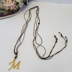 Vintage leather string M necklace